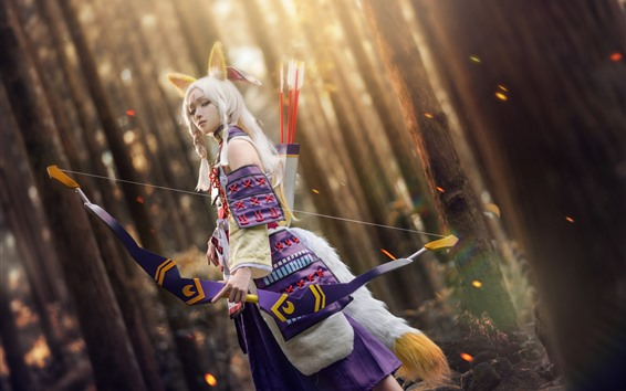 Wallpaper Beautiful Cosplay girl, fox, bow, forest