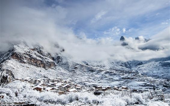 Papéis de Parede Gannan bonito, montanha, neve, vila, inverno, China
