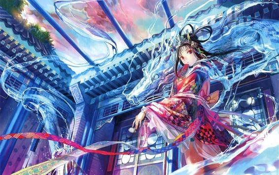Papéis de Parede Linda anime menina japonesa, dragão