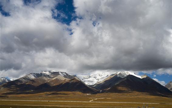 Wallpaper Beautiful Tibet, mountains, clouds, snow, nature landscape, China