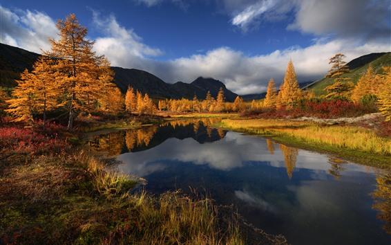 Обои Красивая осень, деревья, озеро, горы, Россия
