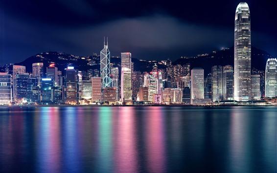 Wallpaper Beautiful city at night, Hong Kong, skyscrapers, lights, sea