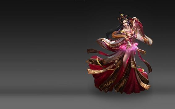 Fondos de pantalla Hermosa chica de fantasía, chica China, falda, fondo gris
