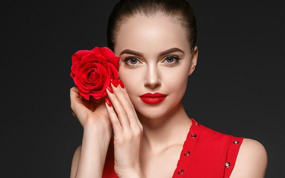 Wallpaper Beautiful girl, makeup, red rose