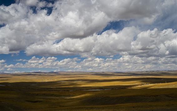 壁紙 美しい草原、雲、空、影、チベット、中国