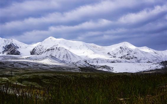 Papéis de Parede Bela paisagem da natureza, Animaqing Snow Mountain, grama, China