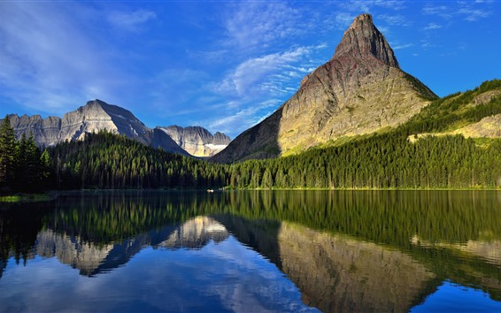 Wallpaper Beautiful nature landscape, mountains, trees, lake, clear water, reflection