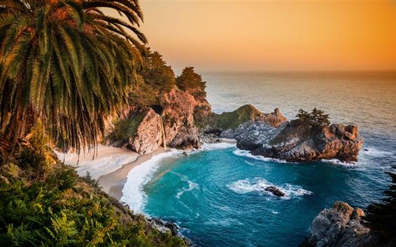 Fondos de pantalla Paisaje de la naturaleza hermosa, mar, cascada, playa, rocas, palmeras