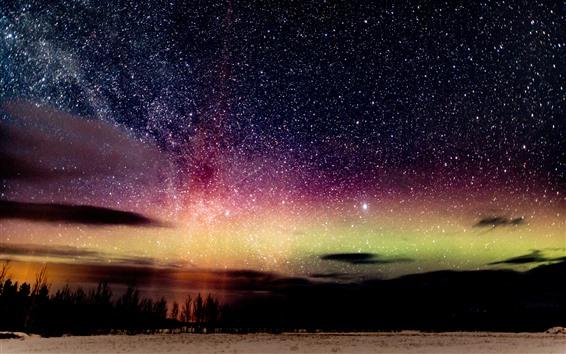 Papéis de Parede Linda noite, estrelada, céu, natureza paisagem