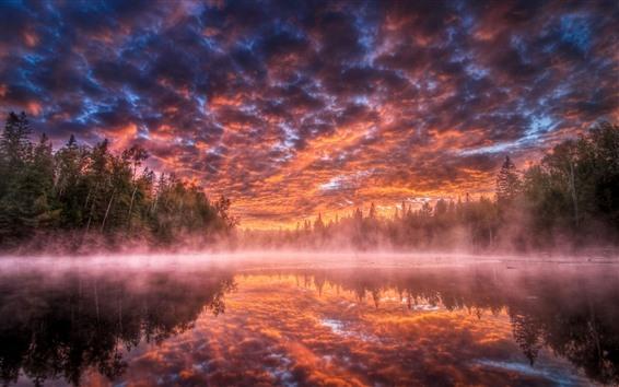 Papéis de Parede Nascer do sol bonito, Rio, árvores, névoa, nuvens, céu vermelho