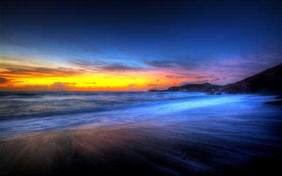 Fondos de pantalla Hermosa puesta de sol, playa, mar, cielo