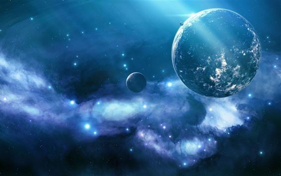 Wallpaper Beautiful universe, planets, stars, light