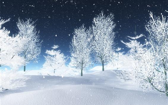 Fondos de pantalla Hermoso mundo blanco, árboles, nieve, invierno, diseño 3D.