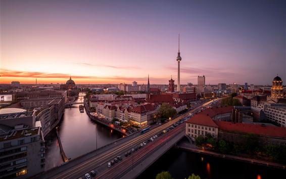 Fondos de pantalla Berlín, Alemania, ciudad, puente, río, autos, puesta de sol