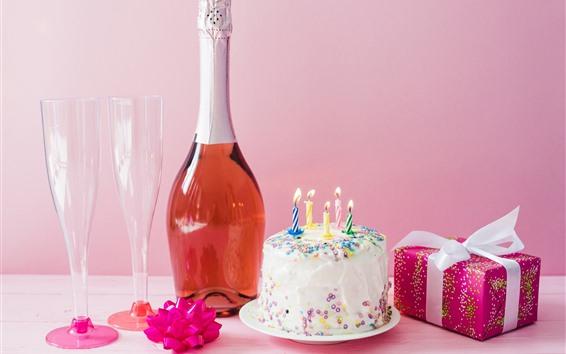 Fondos de pantalla Pastel de cumpleaños, velas, fuego, vino, regalo.