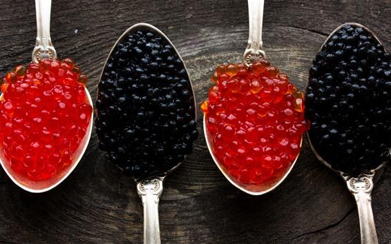 Fondos de pantalla Caviar negro y rojo, cucharas