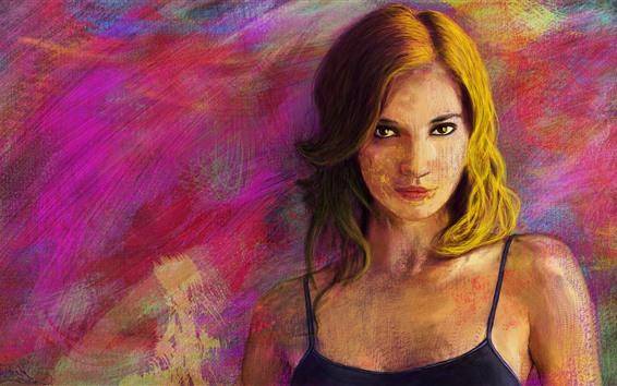 Wallpaper Blonde girl, art painting