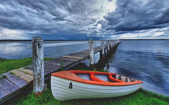 Fondos de pantalla Barco, muelle, río, nubes, atardecer