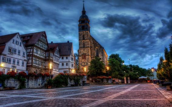 Fondos de pantalla Boeblingen, Alemania, ciudad, casas, iglesia, luces, calle, noche