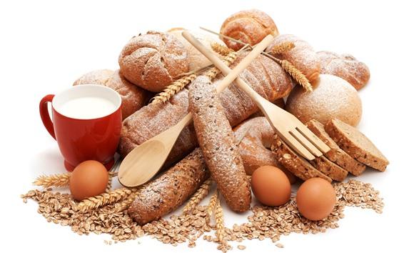 Wallpaper Bread, cup, milk, eggs, white background