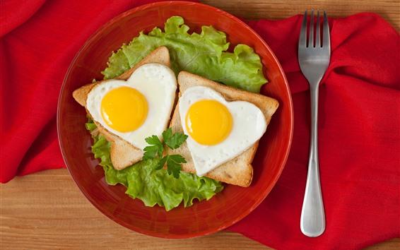 Fondos de pantalla Pan, amor corazón, huevos, tenedor, comida.