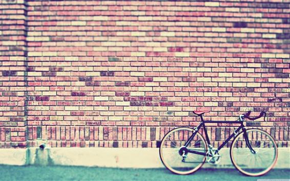 Wallpaper Bricks wall, bike, street
