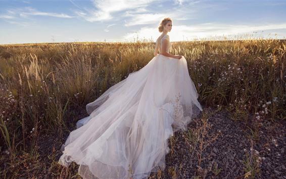 Wallpaper Bride, white skirt girl, grass, sunshine