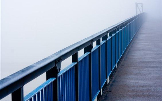 Fondos de pantalla Puente, valla, niebla