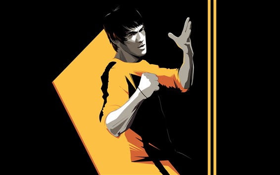 Wallpaper Bruce Lee, Kung Fu star, art picture