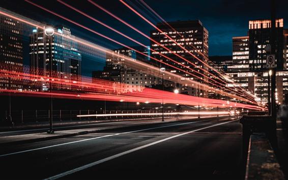 Fondos de pantalla Canadá, Ottawa, líneas de luz, ciudad, noche.