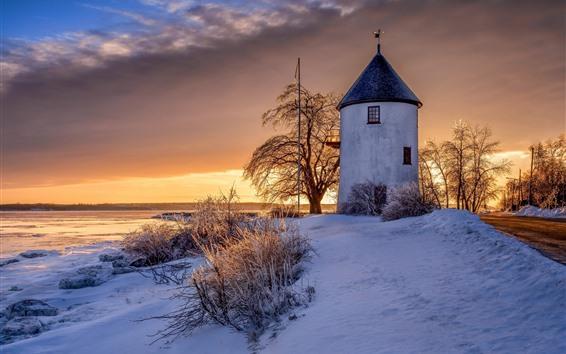 Fondos de pantalla Canadá, molino de viento, nieve, puesta de sol, invierno