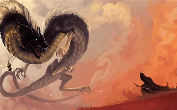 Wallpaper Chinese dragon, fantasy animal