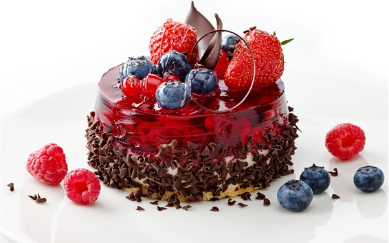 Fondos de pantalla Tarta de chocolate, arándanos, fresas