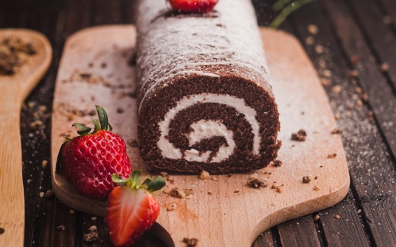 Fondos de pantalla Rollo de pastel de chocolate, fresa
