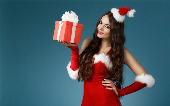 Papéis de Parede Garota de Natal, saia vermelha, presente