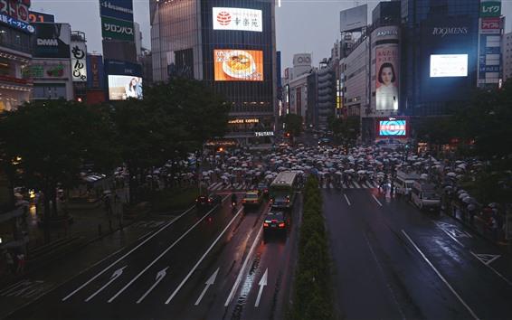 Papéis de Parede Cidade, estrada, povos, edifícios, noite, Japão