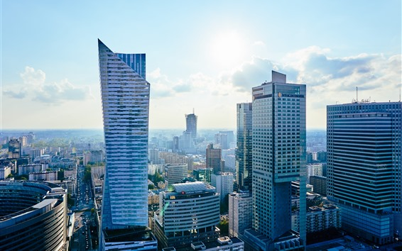 Fondos de pantalla Ciudad, rascacielos, carreteras, coches, nubes, cielo.