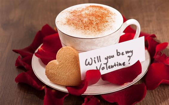 Fondos de pantalla Café, taza, espuma, corazón de amor, pétalos de rosa roja