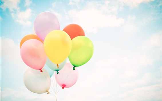 Wallpaper Colorful balloons, sky, white clouds
