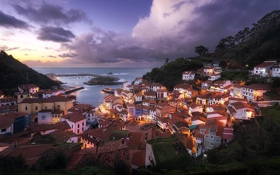 Papéis de Parede Cudillero, Espanha, cidade, casas, anoitecer, luzes, mar