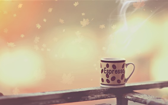 Wallpaper Cup, steam, fence, leaves, creative design