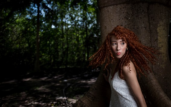 Wallpaper Curly hair girl, forest