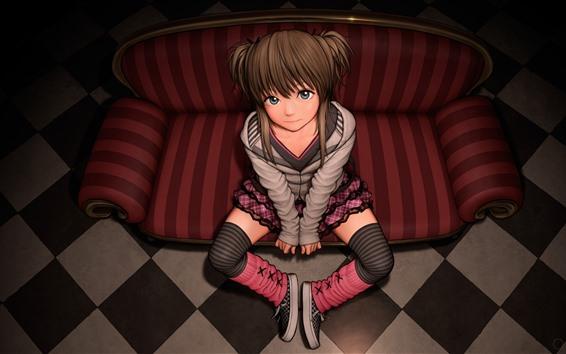 Papéis de Parede Anime menina bonito, olhe para você, sofá