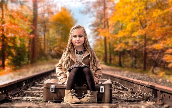 Wallpaper Cute blonde little girl, glasses, suitcase, railroad