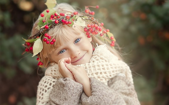 Wallpaper Cute child, little blonde girl, head decoration, berries