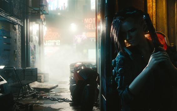 Wallpaper Cyberpunk 2077, girl, gun, street