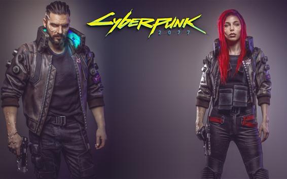 壁紙 サイバーパンク2077、男と女の子