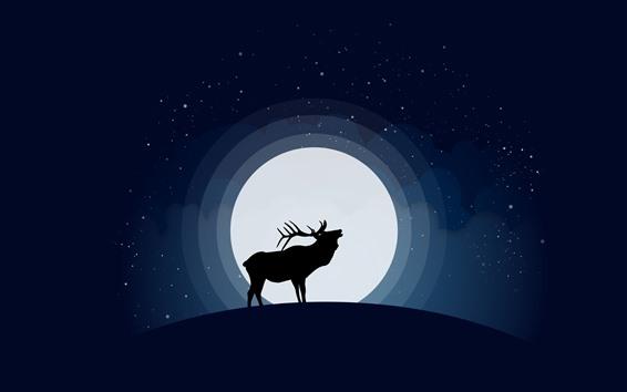 Fondos de pantalla Venado y luna, noche, imagen artística.