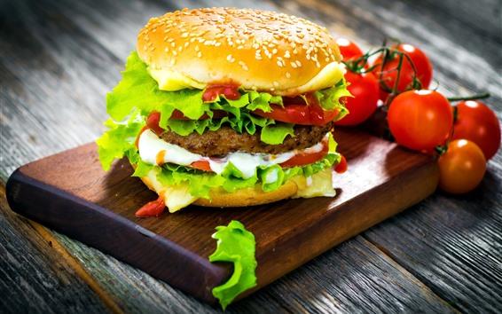Wallpaper Delicious fast food, hamburger, tomatoes