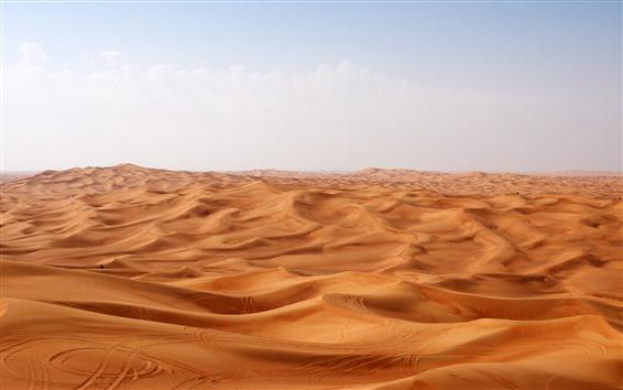 Wallpaper Desert, dunes, clouds, hot